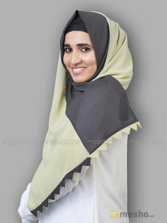 Polyster Double Shade Plain Stole In Light Khaki And Grey