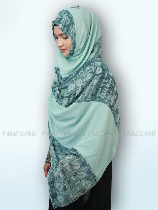 Polyster Double Shade Stole In Multi And Mint