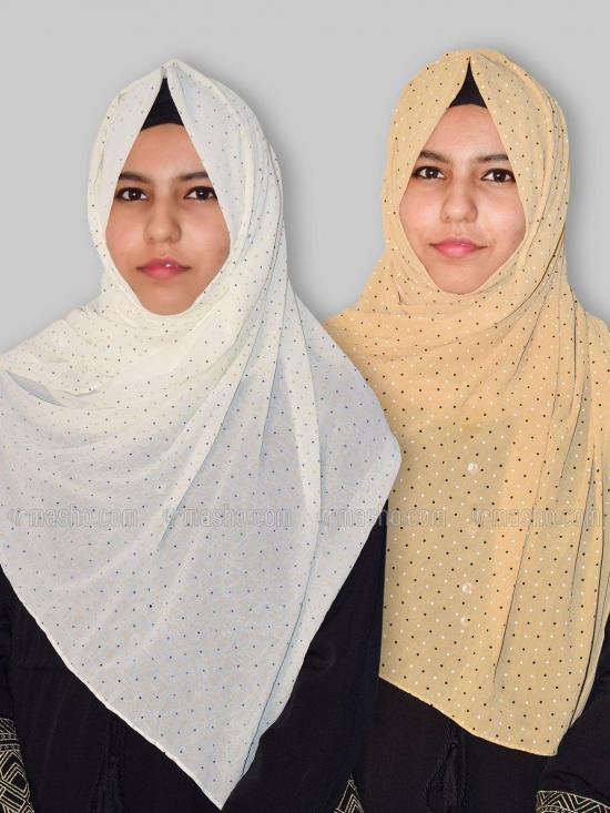 Set Of Two Georgette Stole With Dot Print In Cream And Beige