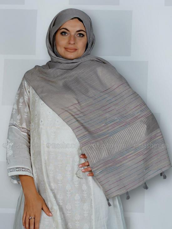 Premium Cotton Stole With Line Pattern And Tssel Work In Greyish Blue