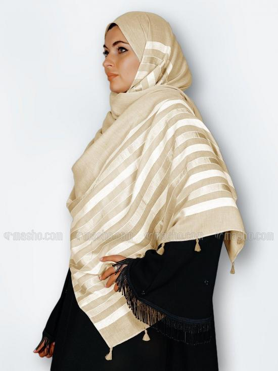 Premium Cotton Stole With Tassel Work In Light Beige