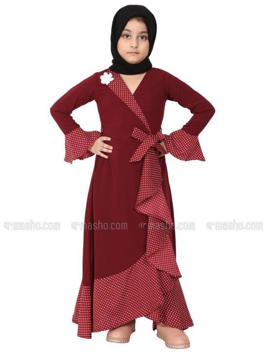 Nidamatte Designer Abaya With Polka Dotted Frills For Kids In Maroon