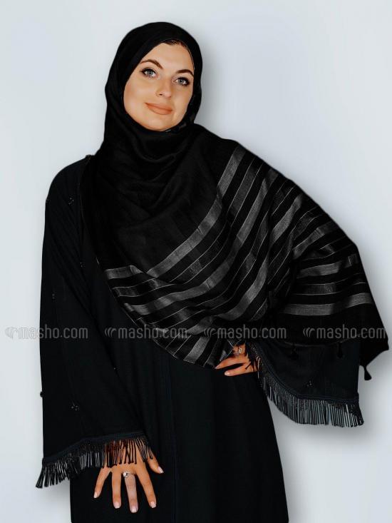 Premium Cotton Stole With Tassel Work In Black