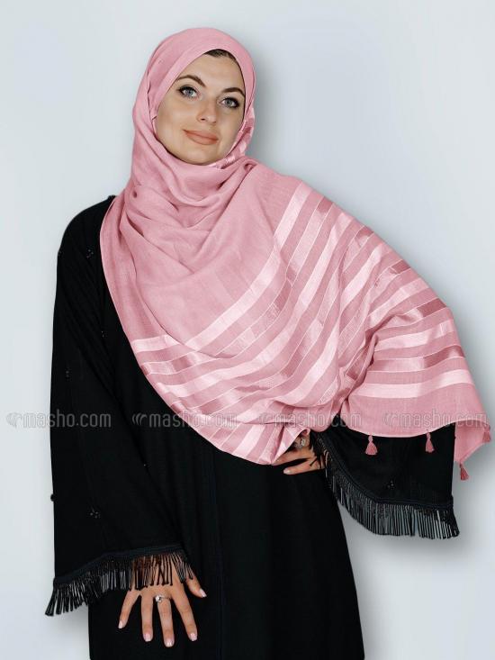 Premium Cotton Stole With Tassel Work In Baby Pink