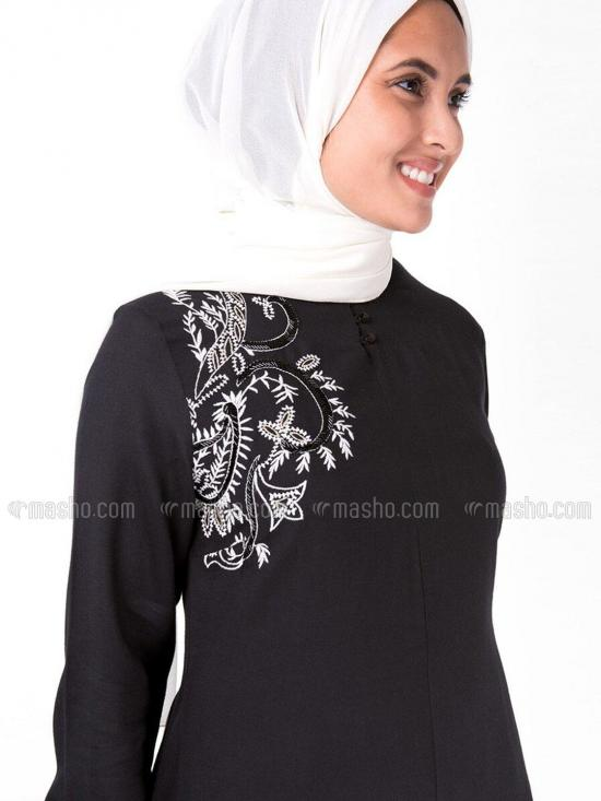 Rayon Embroidery Midi With Full Sleeve In Black