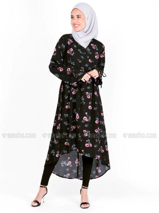 100% Rayon Floral Haider Moss Crepe Midi In Black