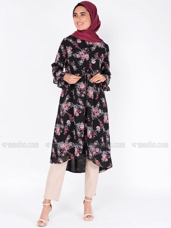 100% Polyster Midi Dress With Gathered A Line In Black