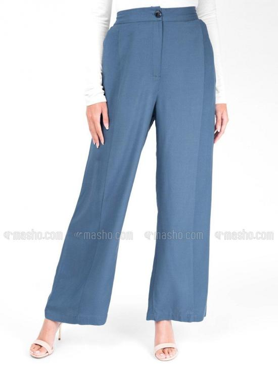 Rayon Palazzo Trouser With Extendable Waist In Blue