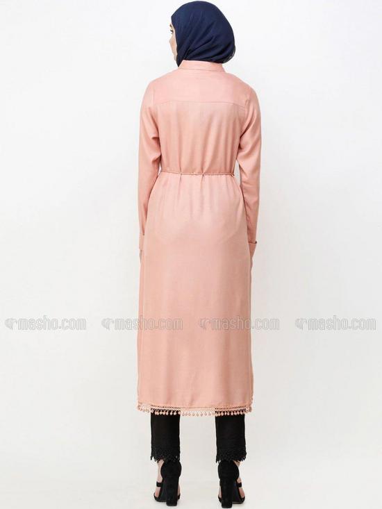100% Viscose A Line Tie Up Midi Dress In Clay