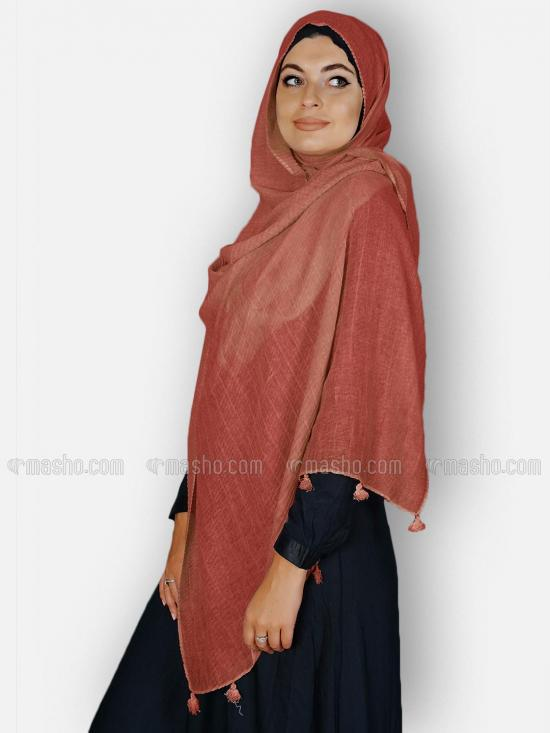 Premium Crinkled Cotton Stoles With Tassel Work In Rust