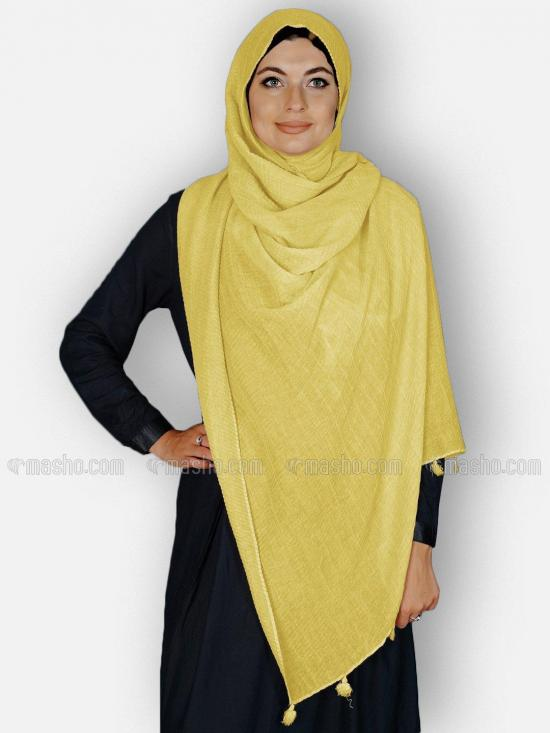 Premium Cotton Stoles With Tessel Work In Yellow