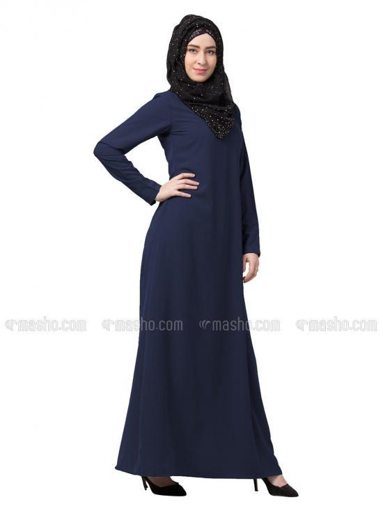 Nida Matte A Line Inner Abaya In Navy Blue