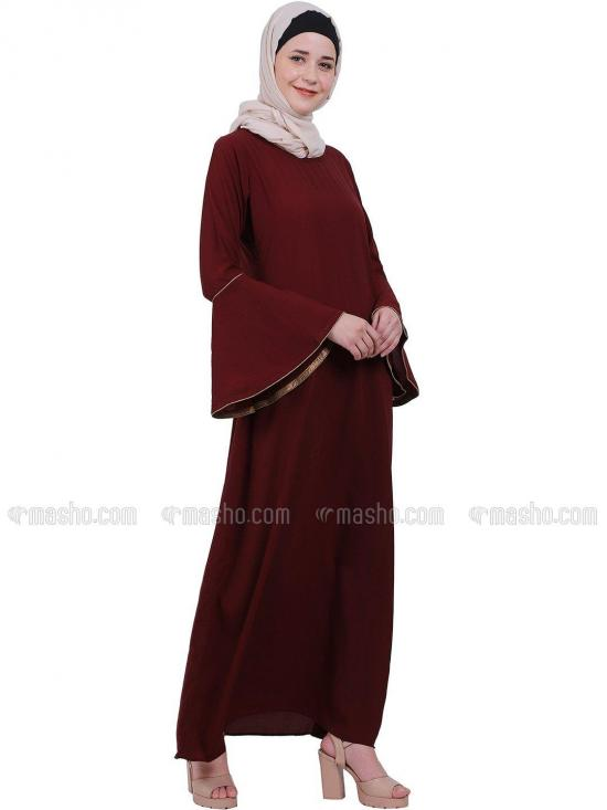 Nida Matte A Line Abaya With Bell Sleeves In Maroon