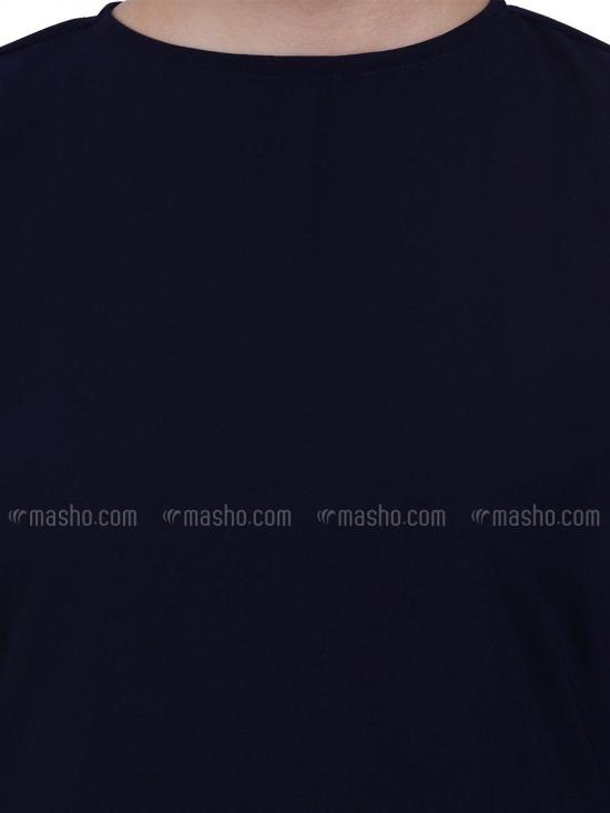 Nida Matte A Line Abaya With Bell Sleeves In Navy Blue