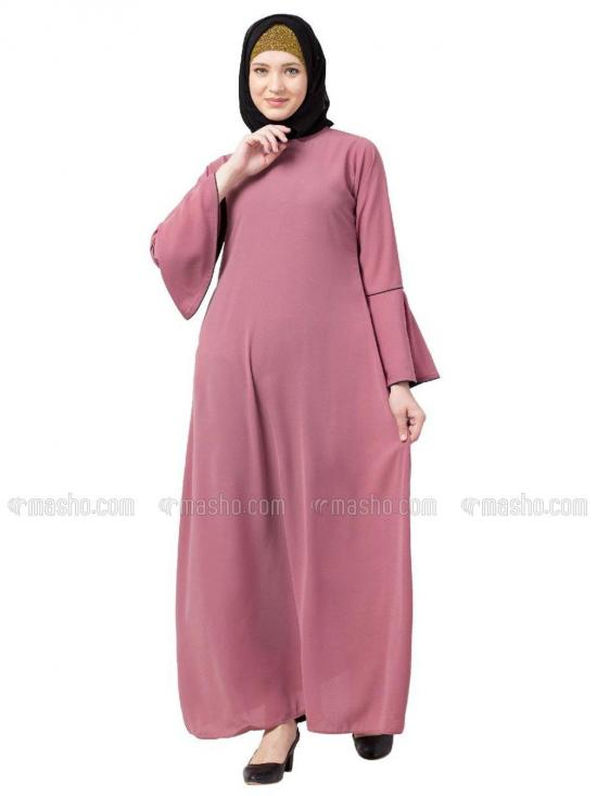 Nida Matte A Line Abaya With Bell Sleeves In Puce Pink