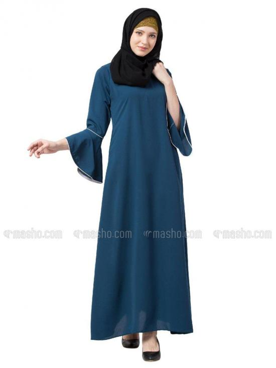 Nida Matte A Line Abaya With Bell Sleeves In Teal Green