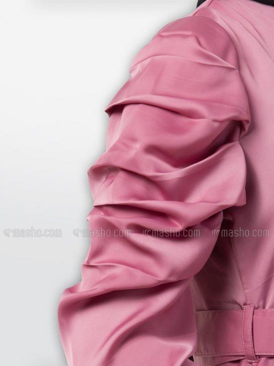 Nida Satin Umbrella Abaya With Matching Belt In Puce Pink
