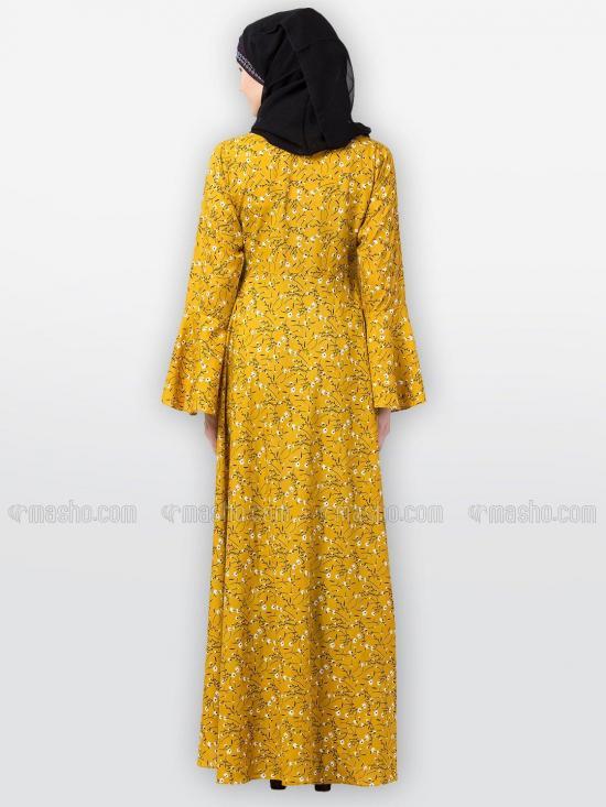 Nida Matte Umbrella Dress Abaya With Bell Sleeves and Printed Work In Mustard
