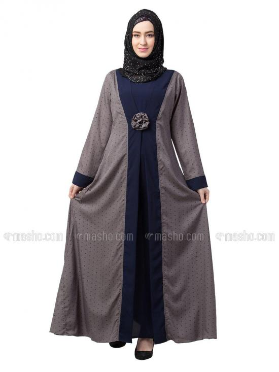 Nida Matte Crepe Layered Abaya With Polka Dotted In Grey And Navy Blue