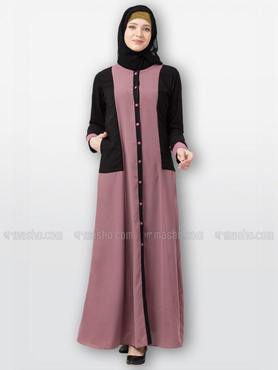 Nida Matte Front Open Abaya With Dual Colored In Pink And Black