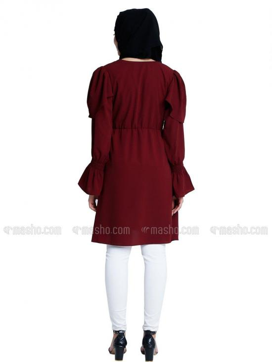 Nida Matte Modest Kurti With Full Sleeves In Maroon