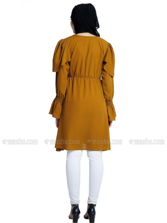 Nida Matte Modest Kurti With Full Sleeves In Mustard Brown