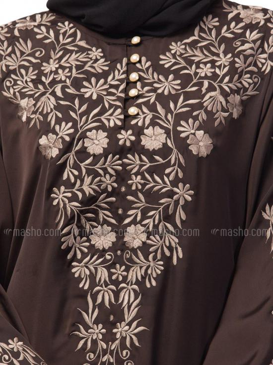 Premium Shine Nida Abaya With Neck And Sleeve Resham Embroidered In Gold And Coffee Brown