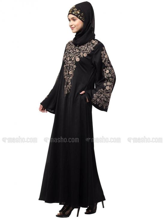 Premium Shine Nida Abaya With Neck And Sleeve Resham Embroidered In Black And Gold