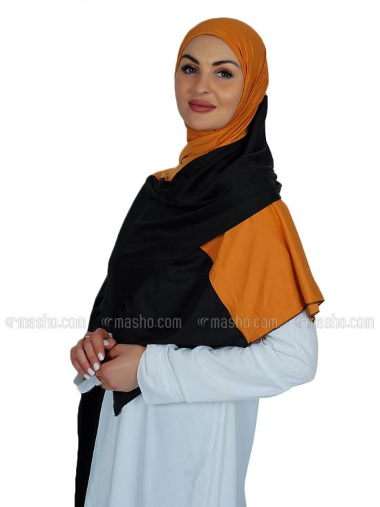 Lycra Double Shade Stole In Black And Mustard