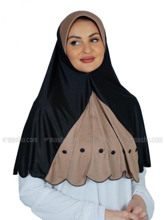 Noorain Instant Hijabs In Black And Beige