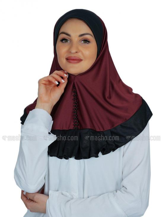 Rida Instant Hijab In Maroon And Black