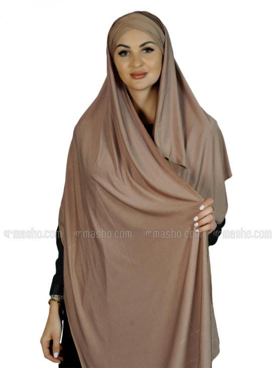 Kinza Turban Soft Knitted Lycra Instant Hijab In Dark Beige