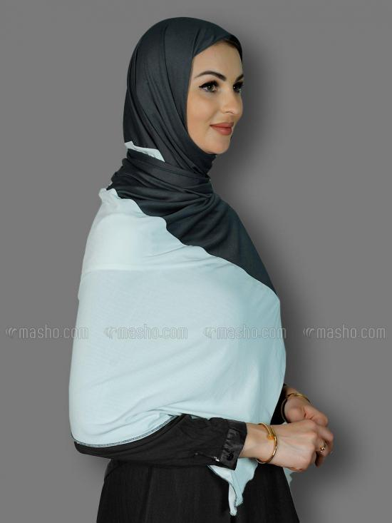 Lycra Double Shade Stole In White And Dark Grey