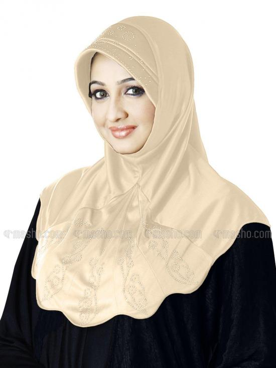 Meharban Lycra Instant Hijab In Beige