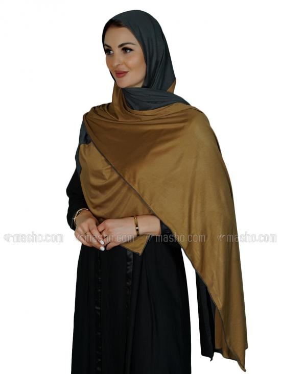 Lycra Double Shade Stole In Dark Ash And Gold