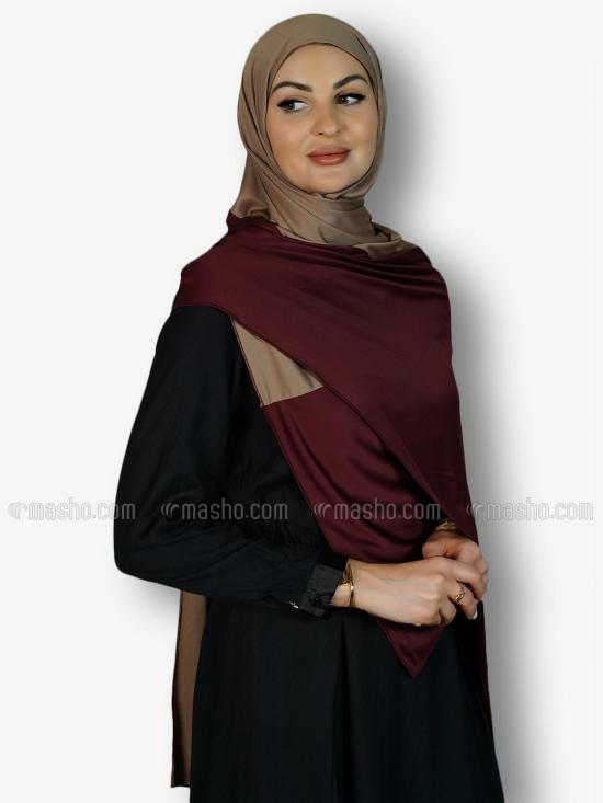 Soft Knitted Lycra Double Shade Stole In Dark Maroon And Beige