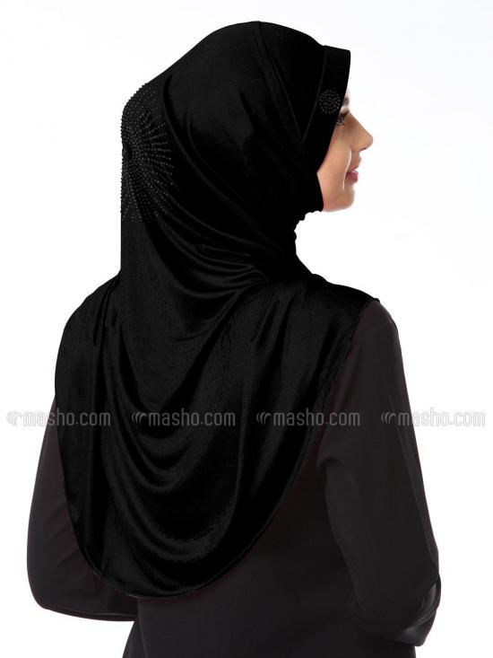 Zooni  Lycra Instant Hijab In Black
