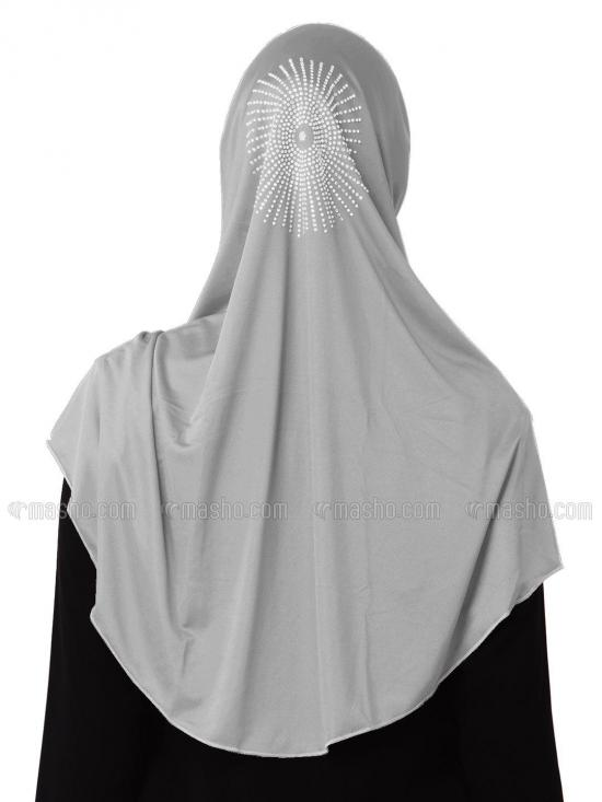 Zooni  Lycra Instant Hijab In Silver