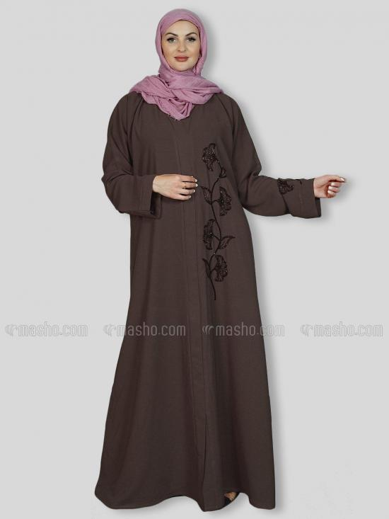 Masha Crepe Simple Free Size Abaya With Crystal Hand Work Embroidered In Brown
