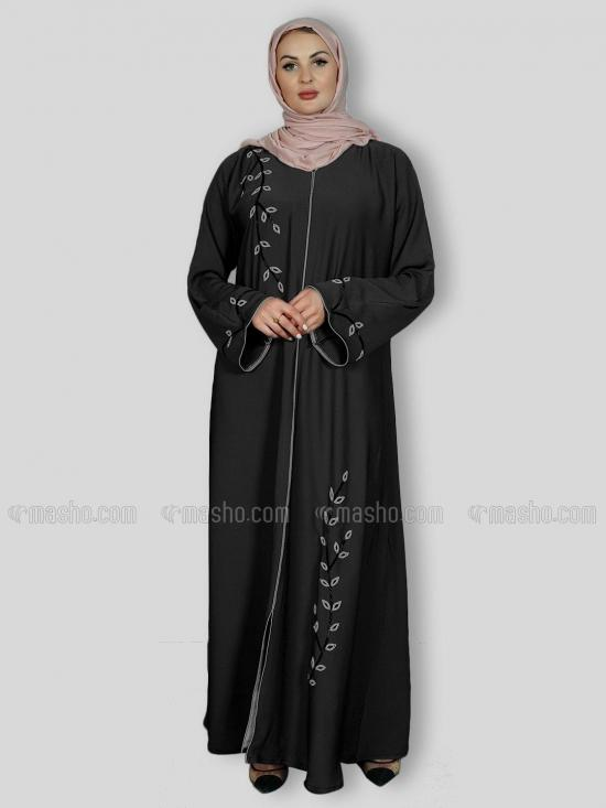 Korean Zoom Simple Free Size Abaya With Crystal Hand Work And Piping Work In Black