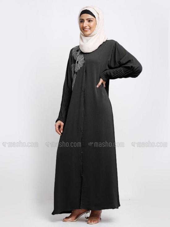 Korean Zoom Simple Free Size Abaya With Crystal Hand Work And Pleat Work On Sleeve In Black