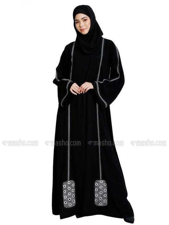 Nida Matte Abaya With Embroidery Work In Black