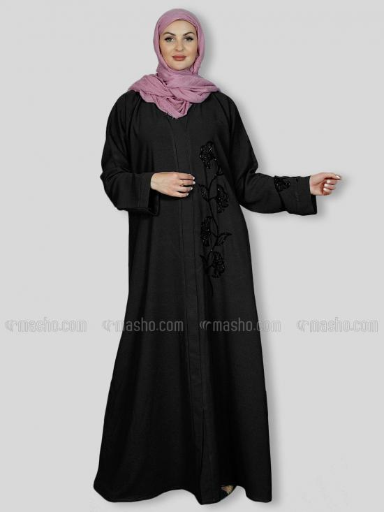 Korean Masha Crepe Simple Free Size Abaya With Crystal Hand Work Embroidered In Black