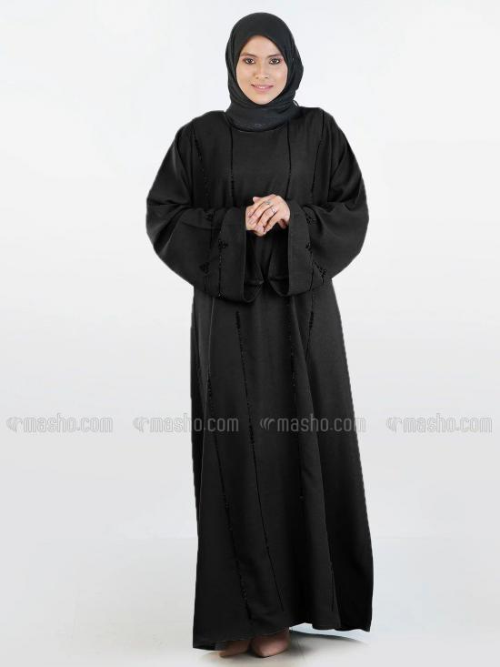 Korean Masha Crepe Simple Free Size Abaya With Black Crystal Hand Work Embroidered In Black