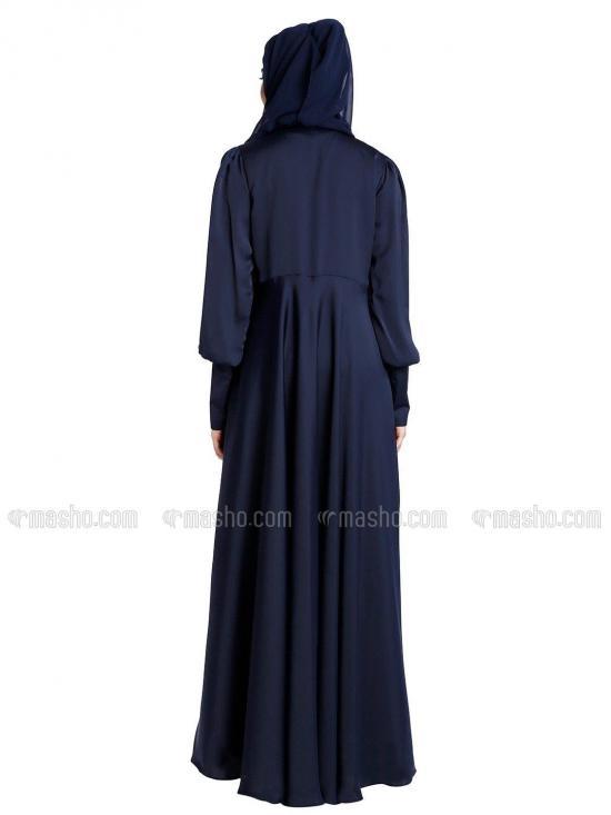 Nida Satin Umbrella Abaya in Navy Blue
