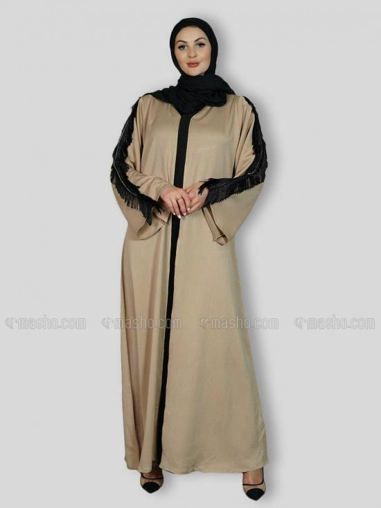 Indonesian Zoom Simple Free Size Abaya With Lace Work On Sleeve And Back Side In Beige