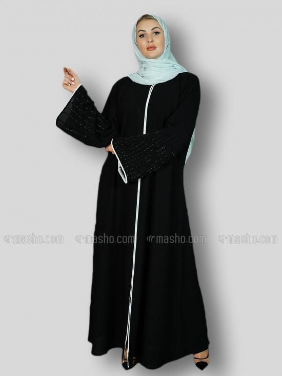 Masha Crep Free Size Abaya With Black Crystal Hand Work On Sleeve And White Piping Work In Black