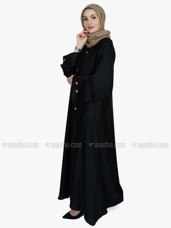 Nida Matte Simple Free Size Abaya With Show Button On Front And Sleeve In Black