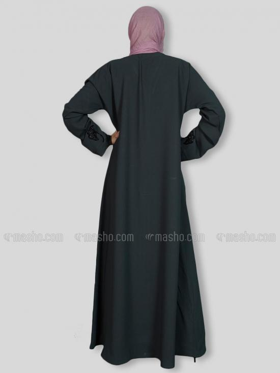 Korean Masha Crepe Simple Free Size Abaya With Crystal Hand Work Embroidered In Dark Grey