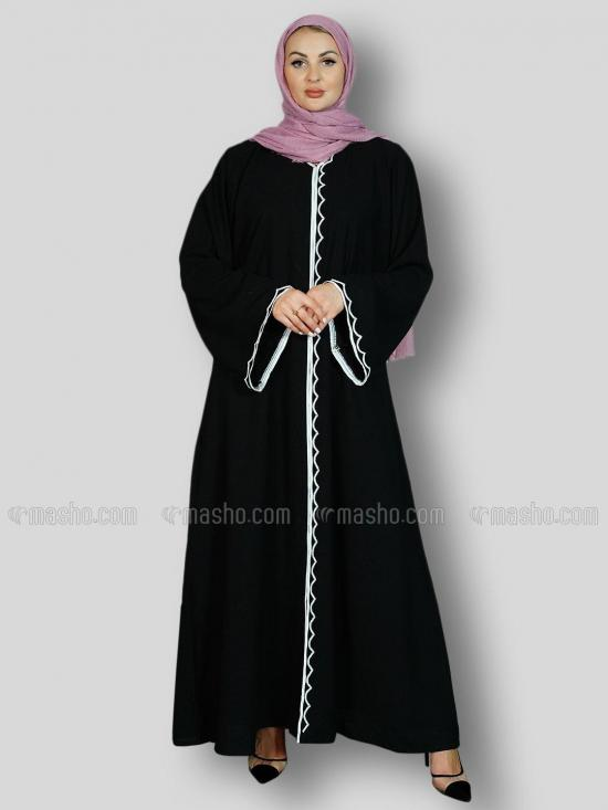 Korean Masha Crepe Free Size Abaya With Crystal Hand Work And Piping Work In Black